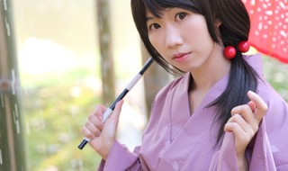 The girl with japanese yukata