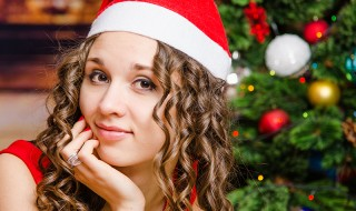 Portrait of a cheerful girl in Christmas setting