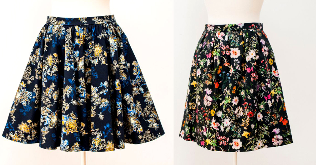 Poza 1 - fusta handmade, fusta cu flori, cumpara online de pe Breslo.ro