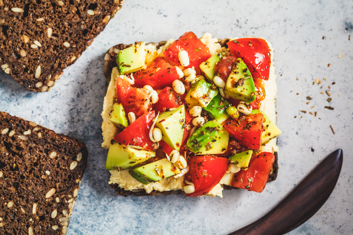 toast avocado humus