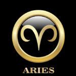 Aries zodiac sign in circle frame