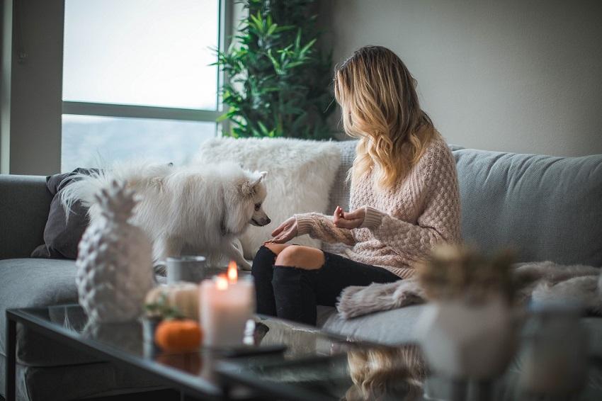 Stilul Hygge femeie cu catel pe canapea